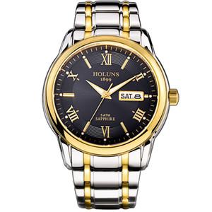 HOLUNS Relógio homens de aço inoxidável masculino completos relógio automático top marca 5ATM de luxo à prova de água Super dropshipping luminosa