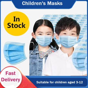 Máscaras 3 Layer Mask Elastic Boca Crianças anti-bactérias Crianças descartável Máscara macia respirável PM2.5 não-tecidos azuis Rapazes Raparigas ZZHFY0010