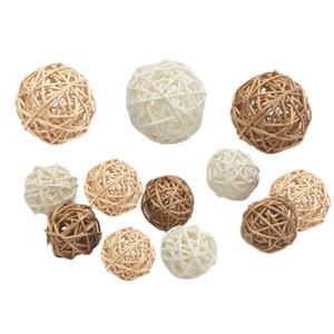 Hechos a mano de mimbre de bolas rústicos esferas bolas de boda del partido de Navidad casera DIY Decoración Niño juguetes para mascotas florero de la tabla de relleno