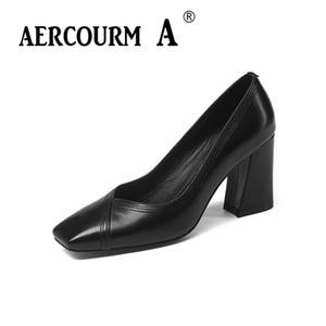Aercourm A 2018 Mujeres Bombas de cuero genuino Mujer zapatos de color sólido poco profundos Cuadrado Toe High Heel Azul Negro Verde Zapatos de vestir