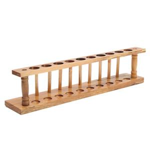 Kicute Holz Reagenzglasständer 10 Löcher und 10 Pins-Halter-Unterstützung Burette Ständer Labor Reagenzglas Shelf Lab Versorgung Ständer