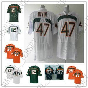 Cheap personalizzati Miami Hurricanes magliette da calcio 2 Jon Beason 12 Jacory Harris 20 Ed Reed 26 Sean Taylor 47 Michael Irvin 87 Reggie Wayne