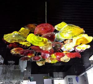 Placas Mão colorida Blown Art Glass Ceiling Lighting Flor decorativa candelabro italiano luz Murano Vidro pingente lâmpadas do candelabro