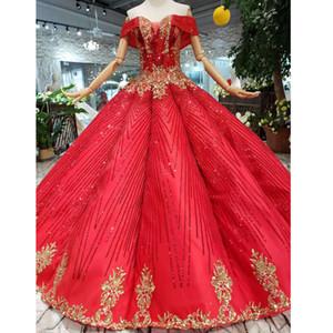 Платья для вечеринок BGW 21517HT Ball Clange Prom Dress 2021 от плеча возлюбленная длина пола опухшая свадьба с золотыми цветами