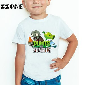 Children Plants Vs Zombies Funny T shirt Kids Cartoon Game Clothes Baby Girls Boys Casual Summer Tops,HKP2404 Y200704