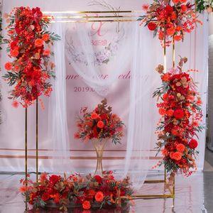 ارتفعت 100CM 9 الألوان DIY الزفاف زهرة جدار إمدادات ترتيب الفاوانيا الحرير الاصطناعي زهرة الصف الديكور زفاف قوس الحديد خلفية