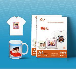 100 folhas de tamanho A4 de papel de transferência de calor de sublimação, de papel 100gsm, de uso em Vestuário, T-shirt, copo, travesseiro etc