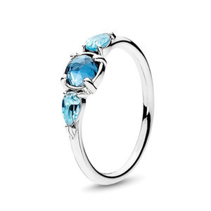 100% 925 Sterling Silver Blue Patterns of Frost Gemstone Ring with Logo and Pandora Original Box Ice Drops Crystal Engagement Ring for Women