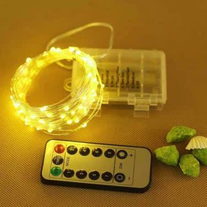 2m 5m 10M Battery Powered LED Luzes Cordas com controle remoto à prova d'água de cobre fio de prata Lâmpada para festa de casamento do feriado do Natal
