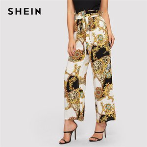 Paperbag Cintura alta con cinturón bufanda y estampado de leopardo pantalones elegantes Mujeres Primavera Cintura elástica Pantalones anchos ocasionales de la pierna
