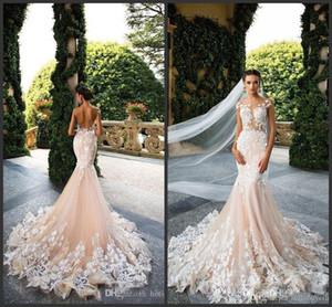 Milla Nova 2019 Cap Sleeve Mermaid Wedding Dresses Sheer Neck Lace Appliques Illusion Bodices Bridal Gowns Wedding Gowns Vestios De Novia