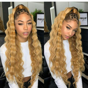 613 blonde ponytail hairpiece Brazilian remy Human Hair pony tail Clip in natural water wave Real hair ponytail 100g-120g