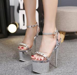 Estate stile Super tacco alto 18 centimetri Scarpe argento Stiletto Cross cinghie Sandali da donna Nightclub Sex grande taglia 35-41