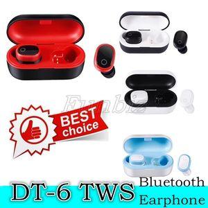 20PCS DT-6 sem fio fone de ouvido Bluetooth TWS 5.0 Esportes auriculares Stereo Som Stereo Headset 3D com microfone e carregamento Box