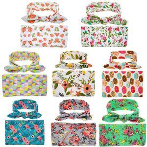 HOT Newborn Baby Sleeping Bag Cute Flower Printed Swaddle Blanket Sleeping Swaddle Muslin Wrap+Head 2pcs Newborn Set