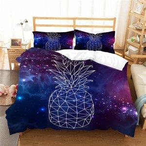 Lit double Vêtements Duver Cover Set Fluorescence Lumière modèle 3D Ananas Home Textiles avec des draps de lit Taie
