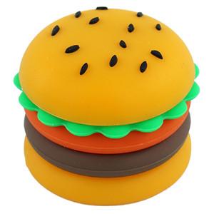 konsantre balmumu yağı Konteynerleri 1 * 1.1 inç için 5ML Silikon Konteyner hamburger kavanoz yapışmaz kavanozları petrol Kutusu Vaporizer