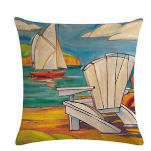 Pillow Cover Oil Painting Seaside Holiday House Pattern Cushion Covers Couch Bed Home Decorative Pillowcase 45*45cm