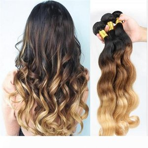 A 1B 4 27 Honey Blonde Malaysian Human Hair Weaves Body Wave Wavy Malaysian 3Bundles Three Tone Colored Ombre Human Hair Wefts Extensio