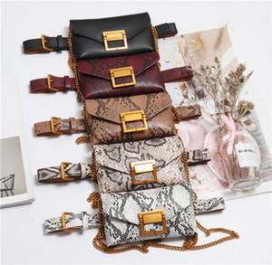 إمرأة جديد الطبقات البرية الزخرفية الرجعية حقيبة الخصر أكياس سلسلة الخصر الأزياء حقيبة الإناث جيوب انفصال الهاتف serpentine tftoi
