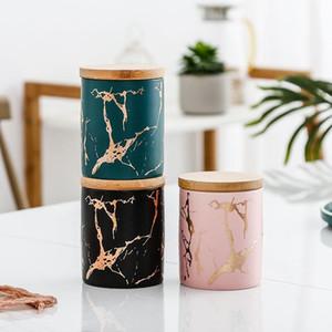 Rund Sealed Teedose Keramik Vorratsdose für Gewürze Tee Kaffee kann für Küche Organizer Behälter-Nahrungsmittelbehälter Flasche mit Deckel T200506