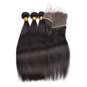 Indian Straight Virgin Hair 3 Bundles Wefts with 13X4 Ear to Ear Lace Frontal Closure Human Hair Extensions Natural Color Free Shipping