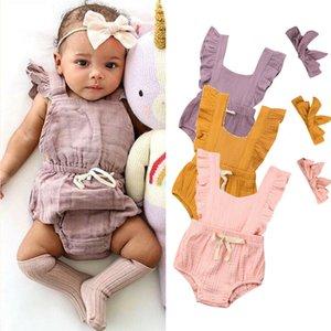 Casual recién nacidos verano de los bebés monos ropa Pequeño bebé lindo volante sólido arco Monos + 2pcs Las vendas Trajes Ropa