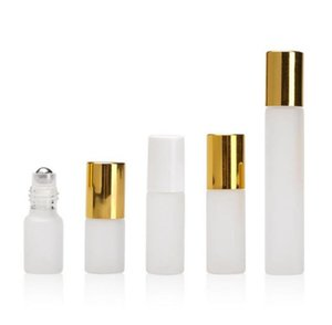3ML 5ML 10ML Refillable Empty Frosted Glass Roller Bottles Eseential Oil Container with Stainless Steel Roller Ball and Gold Cap SN3148