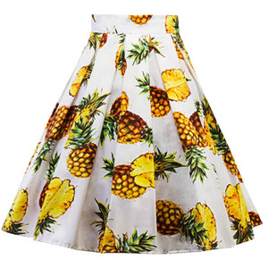 Women Summer A Line Skirt Floral Print High Waist Cssual Skirt Famale Fashion Designer Clothing