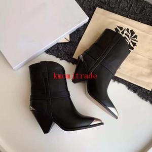 Orijinal Kutusu Paris Pist Isabel Gerçek Deri Marant Kadınlar Siyah Lamsy Boots Pist göster Çelik burunlu Metal Süsleme Podyum Kayış Ayakkabı