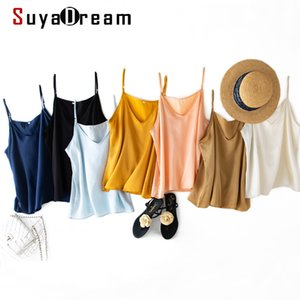 SuyaDream Women Silk Camisoles 100%Real Silk Satin Sleeveless Solid Sexy V neck Camis 2020 Summer Elegent Vests