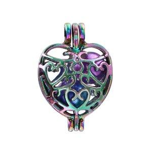 New Rainbow Color filigrana Coração Pérola gaiola grânulo da gaiola pendente Oil Difusor Medalhões para Oyster Akoya Pearl Jewelry