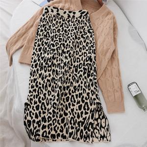 Autumn Winter Women Leopard Knitted Skirt Split Elastic High Waist Sweater Skirts Female Package Hip Long Knitted Skirt AB1236