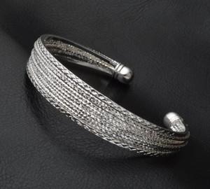 Forma aberta Bangle Pulseiras 925 Sterling Silver Retro banhado Vintage jóias para mulheres Pulseira Presente para o Valentim Atacado