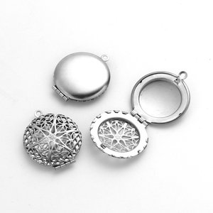 Stainless Steel Picture Photo Locket Frame Pendents Vintage round Pendant Silver Color Leaf Cabochon Settings For Woman DIY