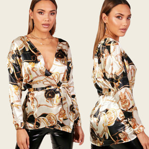 Модные рубашки роскошные женщины V-образным вырезом блузки мода дизайнер рубашки весна пояса дизайн элегантные топы с длинными рукавами тройники