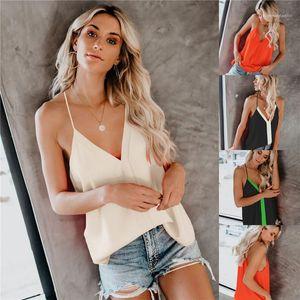 V шея вскользь Сыпучего Camis Простого Famale Tank Ladies Summer Contrast Color Crop Top женщины сексуальный