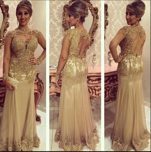 Sirène d'or mère des robes de mariée avec manches longues illusion dentelle perlée col Jewl dos ouvert robe de bal Applique robe de soirée formelle