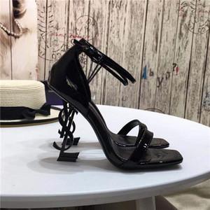 los zapatos más nuevos de las mujeres de moda designero622 top07 de tacones altos Carta de cuero verdadero talón de los altos talones las sandalias del deslizador del partido banquetes s boda