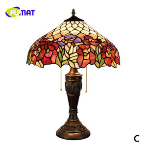 FUMAT European Dia40cm Creative Tiffany Stained Glass Living Room Bedroom Bedside Table Lamp Club Art Club