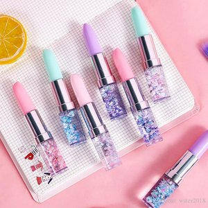 Creative Gel Pen Lipstick Shaped Oil Quicksand Girl Signature Pen Small Fresh Portable Student Pens Ballpoint Pens Free DHL