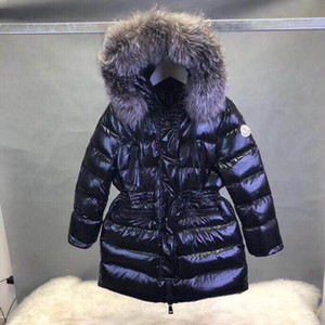 Meninas longo casaco de inverno Roupa das Crianças Big Fur baixo casaco bebê meninas usam outerwear stripe quente