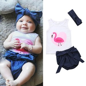 Ins 2020 Summer flamingo baby girls suits Newborn Outfits Infant Outfits Vest+Shorts+headband 3pcs set baby girl clothes B981