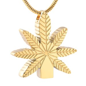 Forma LKJ19992 Maple Leaf Glod cremación humana colgante Hold Sin límites Memorial Urna collar de acero inoxidable Locket