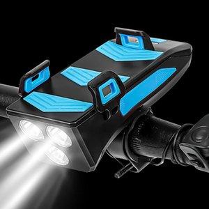 متعدد الوظائف الدراجة الخفيفة USB قابلة للشحن 4000mAh البطارية LED دراجات مصباح رئيس القرن حامل الهاتف قوة البنك الجبهة العلوي