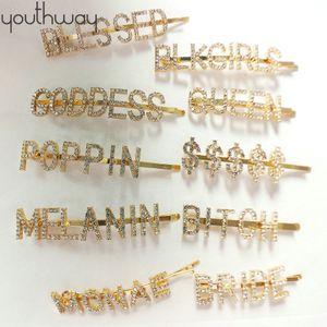 Bling alfinetes de cabelo e clipes de cristal alfabeto ouro Palavra Pin cabelo Costom carta strass headpiece meninas acessórios