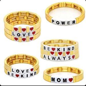 Shinus Bracelet For Women Tile Bracelets 2020 Gold Pulseras Mujer Moda LOVE Letter Jewelry Armband Heart Metal Beads Jewellry