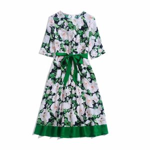 European and American women's dress 2020 summer new styles 5 minutes of sleeve Rose printed lace-up Fashionable silk dress