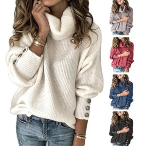 2020 Winter Women's Long Sleeve Knitted Sweater Solid Color Turtleneck Warm Sweater 5 Colors Plus Size