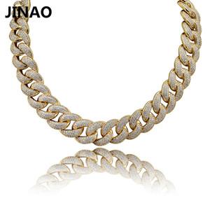 Jinao Nuovo 18MM Maimi Cuban Catena collana SilverRose colori fuori ghiacciato cubico zircone monili di Hip Hop per gli uomini regalo V191213 Donne